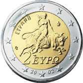 Grekisk euro med bild av legendens Europa på tjurens rygg